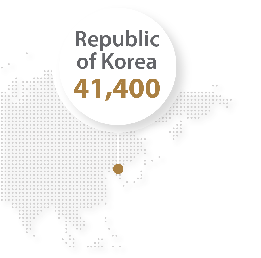 Map Of South Korea For Top five countries in robotics Illustration